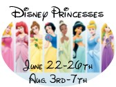 Disney Princesses Camps: June 22nd - 26th & August 3rd - 7th