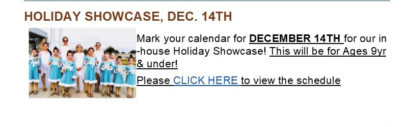 Holiday Showcase Schedule Is Now Posted